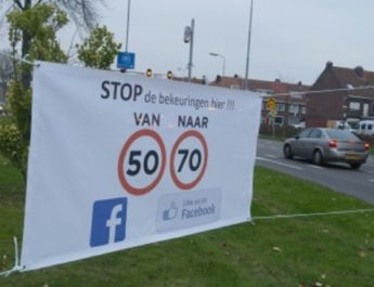 """Banner """"from 50 to 70"""" placed at speed camera"""